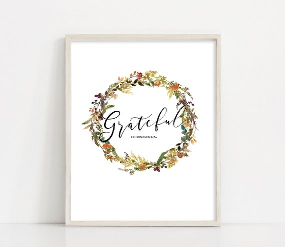 "Grateful Wreath Wall Art - 8x10"" Printable Sign - Fall Watercolor Floral Wreath - Printable Art - Thanksgiving Sign - INSTANT DOWNLOAD"