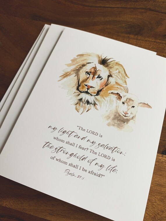 Notecards, Lion Lamb Watercolor, Psalm 27 Folded Notecards, Psalms Stationery, Blank Inside, Mothers Day Gift