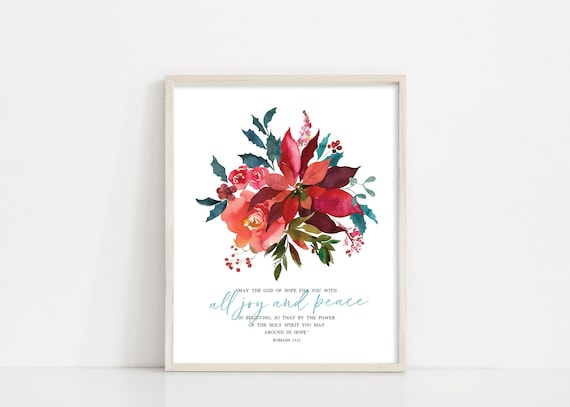 Christmas Poinsettia Printable Sign, Christmas Wreath Digital Print, Printable Wall Art, Christmas Decor, Holiday Sign, INSTANT DOWNLOAD