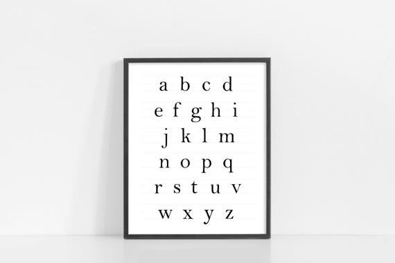 "ABC Sign - Alphabet Design - ABCs Nursery Wall Art - 8x10"" Digital Print - Nursery Decor - Black and White Printable Art - INSTANT DOWNLOAD"