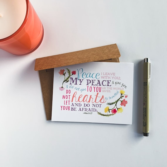Thank You Cards, Peace Encouragement Card Set, John 14:27 Stationery Set, Blank Inside Notecards, Blank Inside, Christmas Gift, Kids Cards