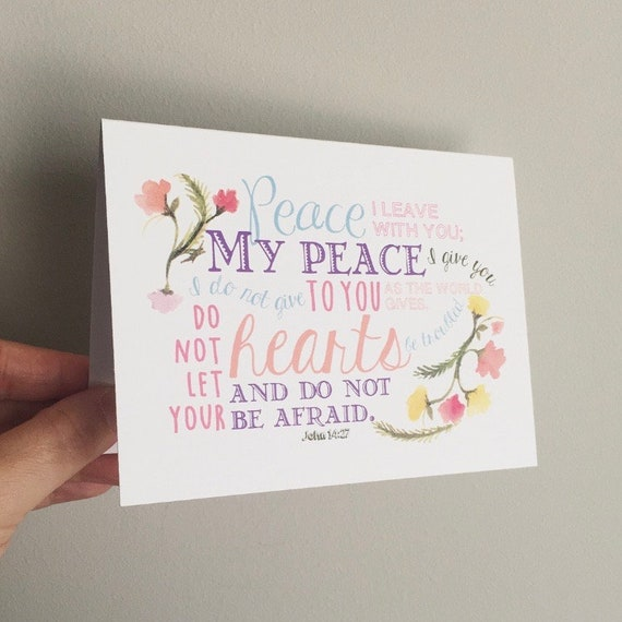 Peace John 14:27  Thank You Cards - Stationery Set of 8 - Blank Inside Notecards - Encouragement Card Set - Blank Encouragement Cards