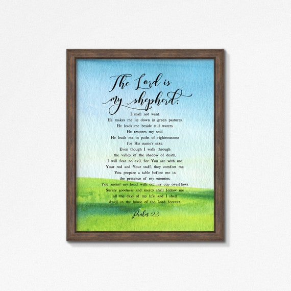 Psalm 23 Watercolor Poster Print, The Lord is My Shepherd Premium Print, Watercolor Greenery, Multiple Sizes, Made to Order