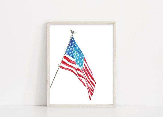 American Flag Watercolor, US Flag, Land of the Free Home of the Brave, Digital Download, America Flag Printable, Flag Sign, Red White Blue