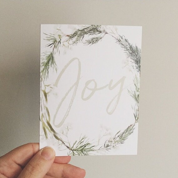 Joy Notecards - Wreath Card Set of 10 - Winter Wreath Cards - Watercolor Stationery Set of 10- Watercolor Wreath Cards - Blank Inside