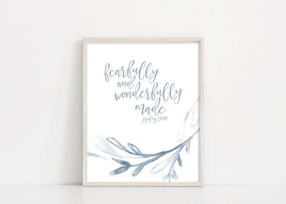 Fearfully and Wonderfully Made - Nursery Wall Art - Psalm 139 Printable Art - 8x10 Digital Print - Nursery Decor Sign - INSTANT DOWNLOAD