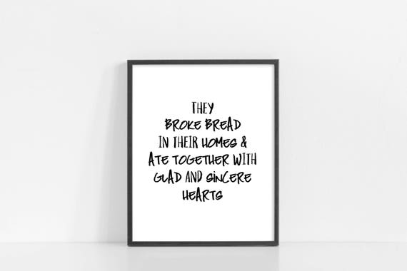 "They Broke Bread In Their Homes - Acts 2:46 Printable Art - Bible Verse Wall Art - Scripture Print - 8x10"" Digital Print - INSTANT DOWNLOAD"