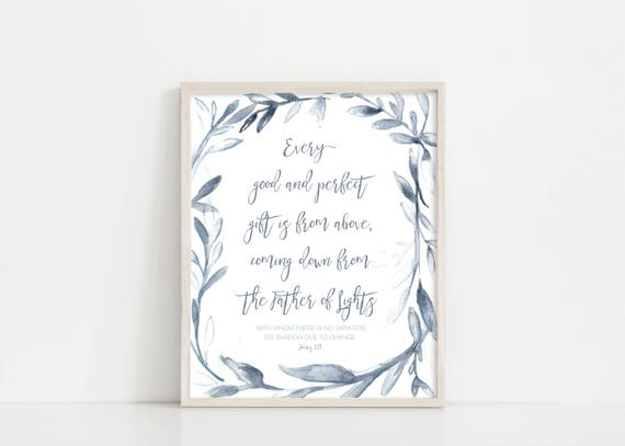 "Every Good And Perfect Gift - James 1 17 - Watercolor Wreath - Nursery Baby Room - 8x10"" Digital Print - Printable Art - INSTANT DOWNLOAD"