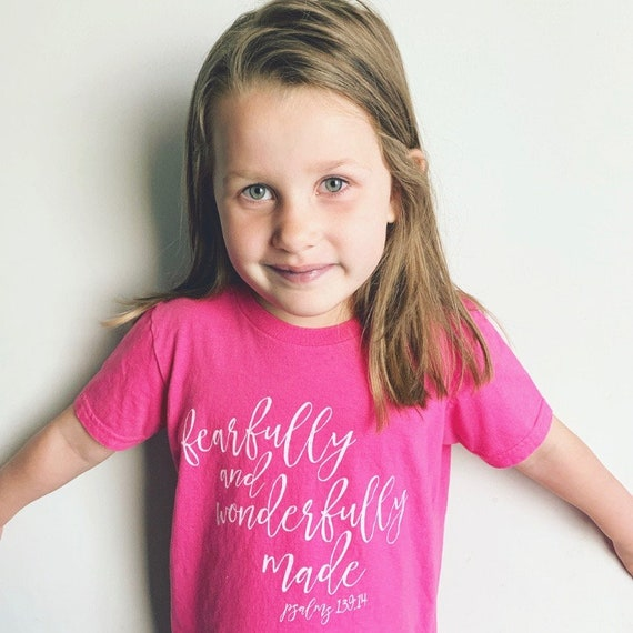 Big Kids Short Sleeve T-shirt - Fearfully and Wonderfully Made - Inspirational Shirt - Soft Tee - Psalm 139 Quote Shirt - Birthday Gift