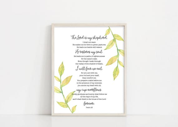 "Psalm 23 The Lord is my Shepherd Printable Art - Watercolor Greenery - Bible Verse - 8x10"" Digital Print - Scripture Art - INSTANT DOWNLOAD"