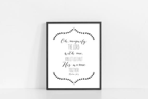 "Psalm 34:3 - Oh Magnify The Lord - Bible Verse Scripture Art - 8x10"" Digital Print - Black and White Printable Art - INSTANT DOWNLOAD"