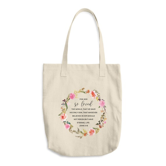 John 3:16 Gift For Mom Cotton Tote Bag - Mothers Day Gift - Modern Gift Totes - Durable Canvas Tote Bag - Gift Idea - Gift Totes - Mothers D