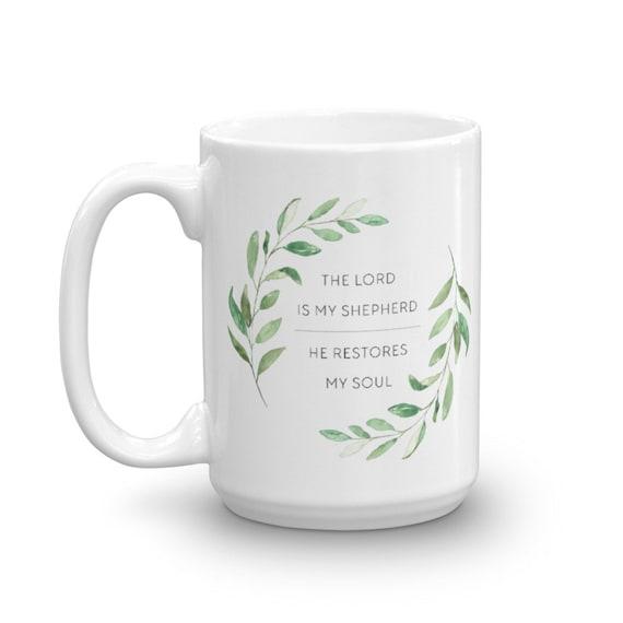 Psalm 23 Coffee Mug - Christmas Gifts - Ceramic Mug - Watercolor Greenery Mug - Gift Mug - Inspirational Coffee Cup - Birthday Gift Idea