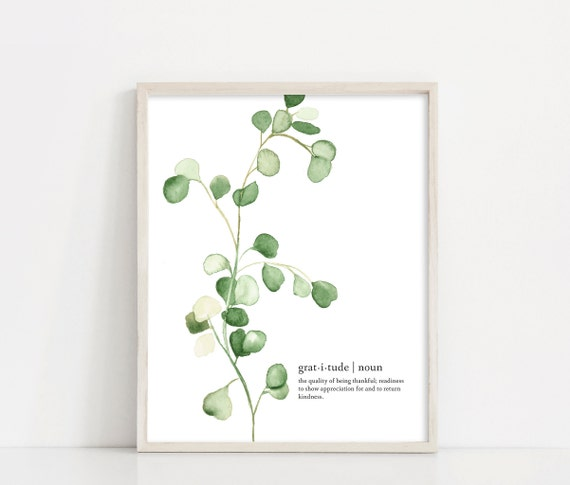 Eucalyptus Watercolor Digital Print, Gratitude Definition, Gratitude Sign, Greenery, Eucalyptus Poster Printable Art, INSTANT DOWNLOAD