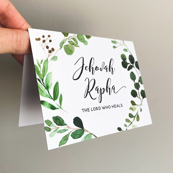 Jehovah Rapha, El Roi, Folded Notecards, Get Well Card, Encouragement Card, Sympathy Card, Folded Stationery, Eucalyptus Watercolor