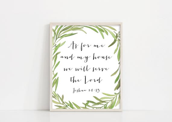 As for me and my house we will serve the Lord - Joshua 24 15 Printable Art - Olive Wreath Printable Watercolor - Greenery - INSTANT DOWNLOAD