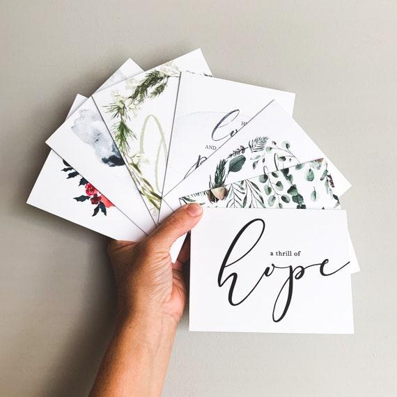 Christmas Cards, Assorted Notecard Set, Thrill of Hope, O Come O Come Emmanuel, Grateful, Let Us Adore Him, Joy, Poinsettia