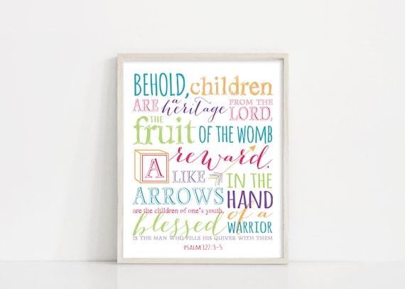 "Nursery Prints - Psalm 127 Print - Bible Verse Scripture Art Svg - 8x10"" Digital Design- Kids Room Printable Art - INSTANT DOWNLOAD"