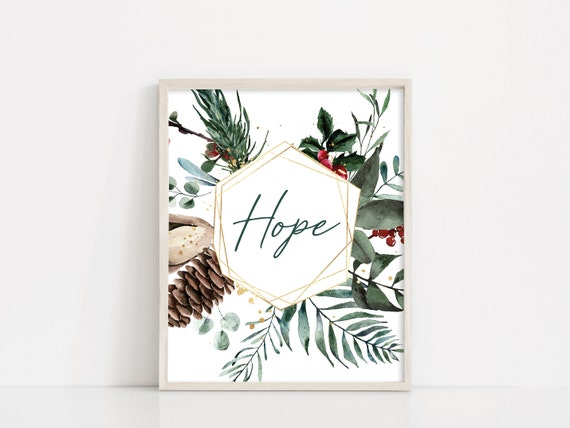 Christmas Hope Printable Sign, Christmas Wreath Digital Print, Printable Wall Art, Christmas Decor, Holiday Sign, INSTANT DOWNLOAD