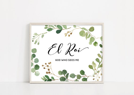 "El Roi, Hebrew Names of God, Printable Art, Watercolor Greenery, Eucalyptus Watercolor, 8x10"" Digital Print, INSTANT DOWNLOAD"