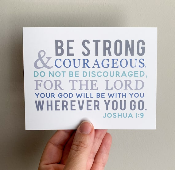 Notecards - Joshua 1:9 Be Strong and Courageous - Set of 8 Flat Cards - Kid Stationery - Blank Cards - Christian Gifts - Encouragement Cards