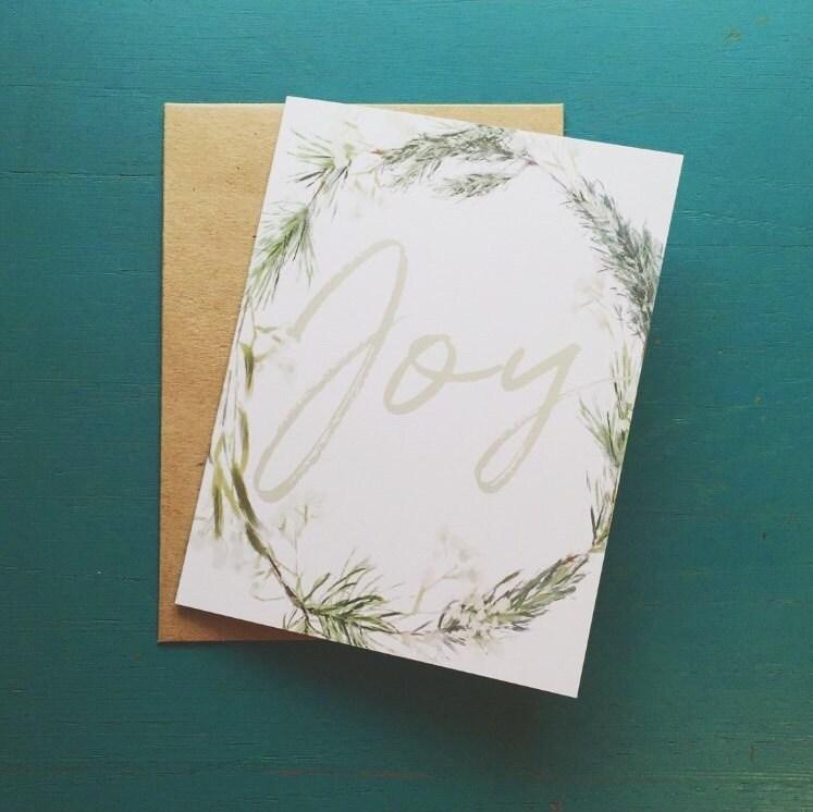 ce84880d9c8 Joy Notecards - Wreath Card Set of 10 - Winter Wreath Cards ...