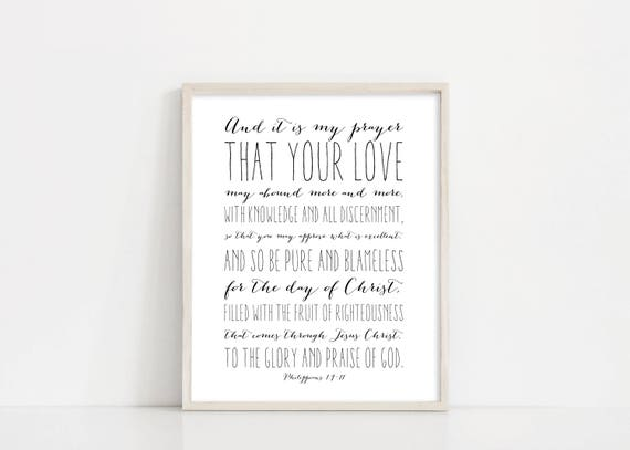Philippians 1:9-11 Printable Art - That Your Love May Abound Scripture Art - 8x10 Digital Print - Black and White - INSTANT DOWNLOAD