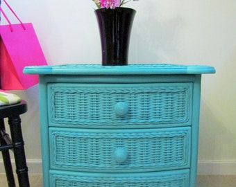 Bamboo and ratten Chest of drawers painted in Annie Sloane chalk paint