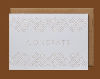 Folk Lines Geometric Letterpress Congrats Card