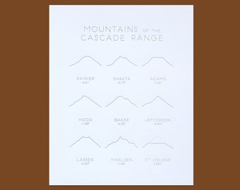 Mountains of the Cascade Range Letterpress Illustrated Art Print 8x10