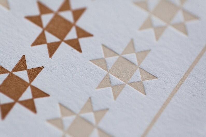 Letterpress American Folk Quilt Geometric Pattern Card No 1