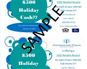 holiday resident referral flyer