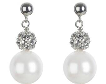 Swarovski pearl and crystal bridal earrings Bliss