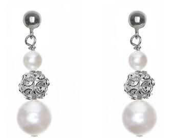 Pearl and crystal bridal earrings Innocence