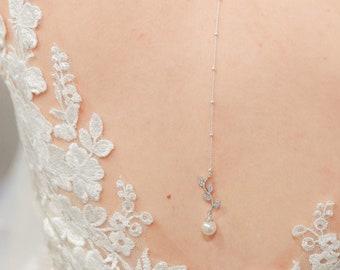 Bridal backdrop pendant, Jade, bridal back necklace, pearl backdrop jewelry, crystal bridal backdrop, bridal back necklace