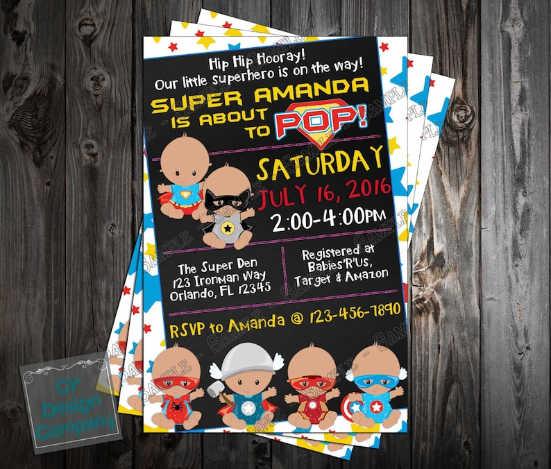 Baby Super Marvel Heroes Shower Printable Invitation OXkwPZiTu