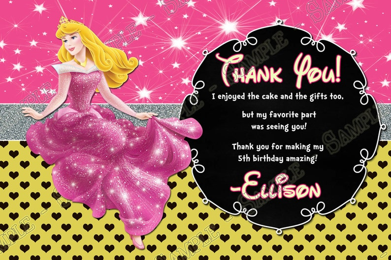 Sleeping Beauty Birthday Party Thank You Card Princess Aurora