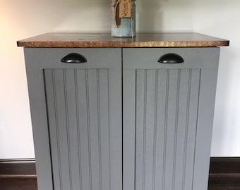 Double Trash Bin Tilt Out Door Wood Trash Recycle Bin Farmhouse Trash bin & Trash can cabinet | Etsy