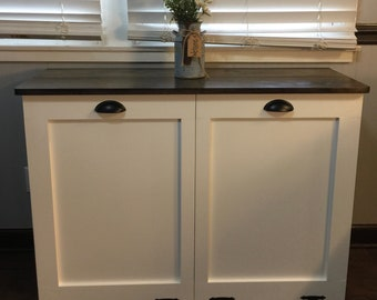 Charmant Double Trash Bin, Tilt Out Door, Wood Trash Recycle Bin Primitive  Distressed, SHAKER STYLE DOORS