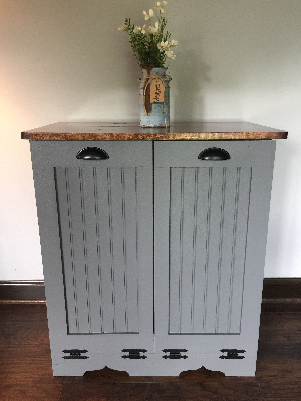 Double Trash Bin Tilt Out Door Wood Trash Recycle Bin Etsy