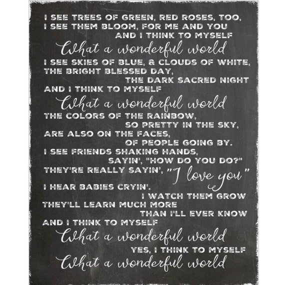 What A Wonderful World Louis Armstrong Lyrics Word Art Etsy