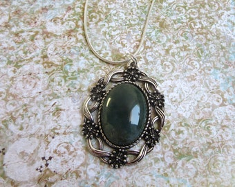 Silver Moss Agate Necklace, Moss Agate Jewelry, Moss Agate Pendant, Healing Crystal Necklace, Dark Green Stone Necklace, Deep Green Necklace