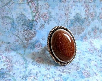 Size 7 Goldstone Ring, Sparkle Ring, Glitter Ring, Silver Goldstone Ring, Oval Goldstone Ring, Size 7 Ring with Goldstone, Fashion  Ring