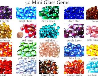 50 MINI Glass Gems, Mini Vase Fillers, Mini Flat Marbles, Mini Vase Gems, Decor Marbles, Flatback Marbles, Glass Mosaic Tiles, 11 - 14 mm