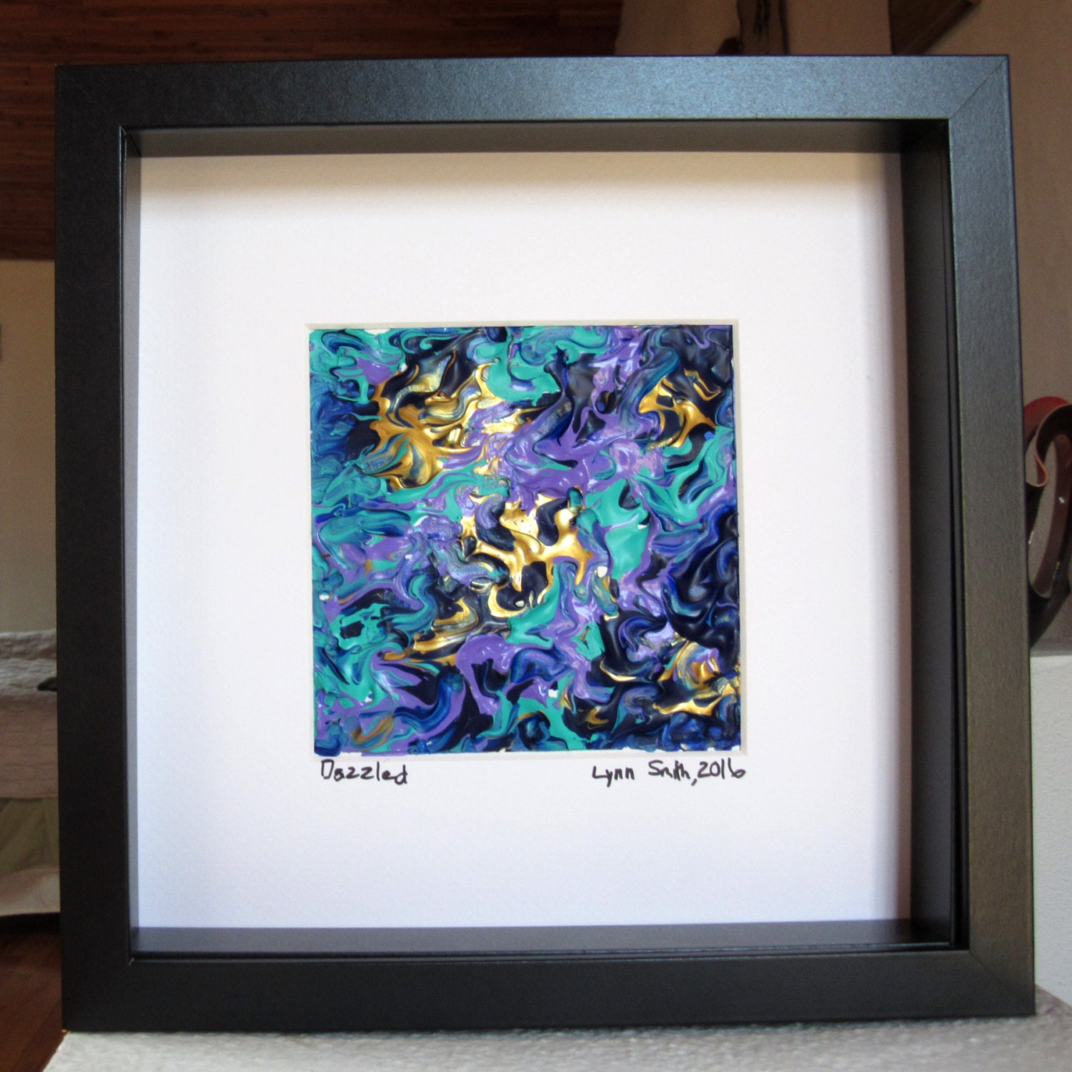 Blue Framed Painting, Blue and Gold Art, Small Framed Art, Framed ...