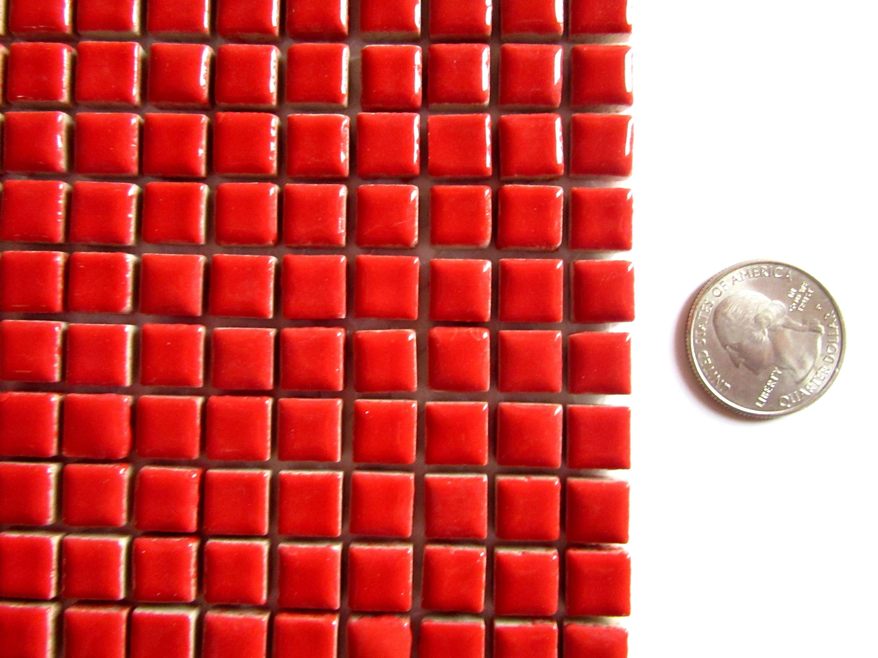 100 Small Red Tiles Mini Red Mosaic Tiles Tiny Red Tiles Small