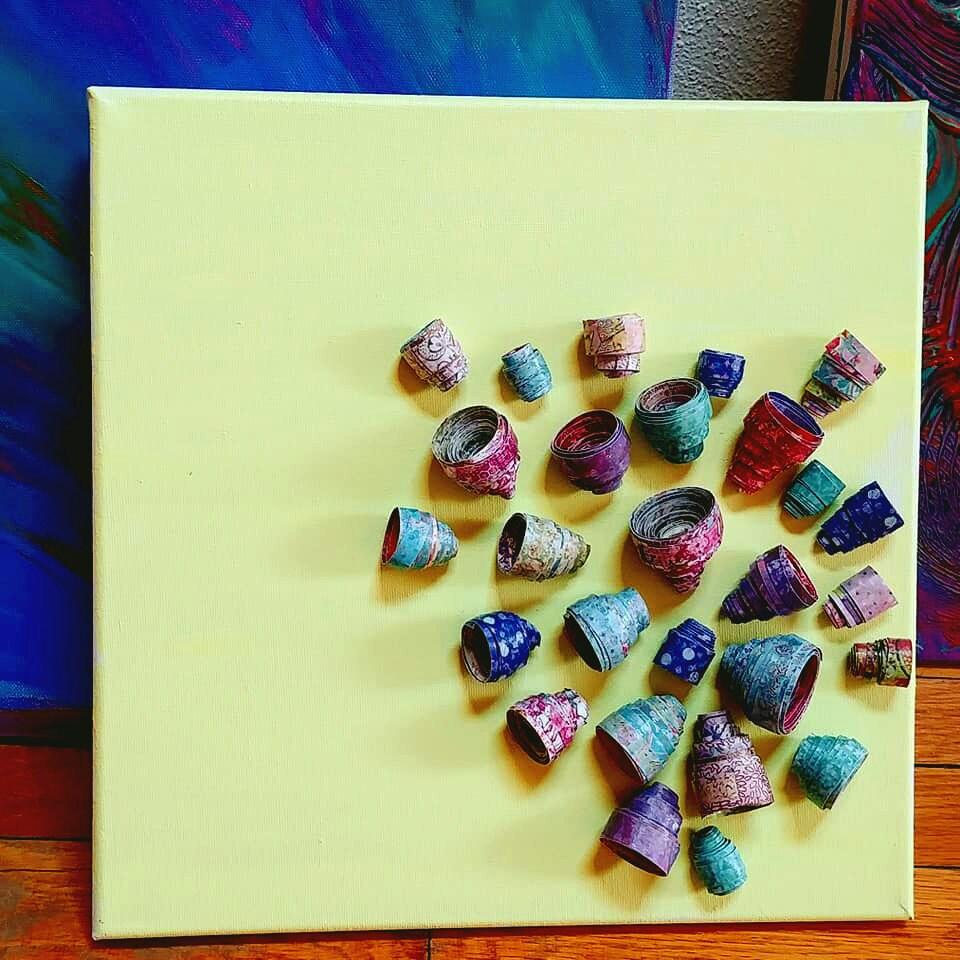 12 x 12 Artwork, Floral Art, Assemblage Art, Mixed Media Wall Art ...