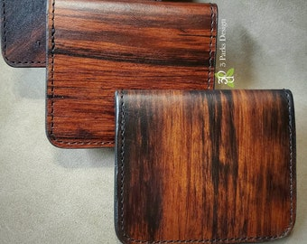 Leather Wallet, Handdyed, Woodgrain, Classic Wallet, Leather Bifold, Billfold Wallet, Unique Wallet, Functional Art, Leather Anniversary