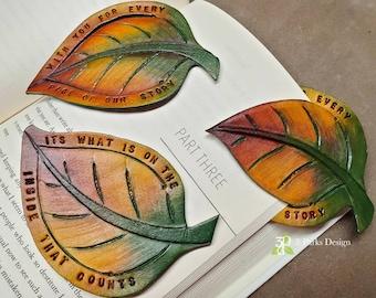 Leather Bookmark, Leaf Bookmark, Tooled Bookmark, Page Marker, Leaf Shaped, Tooled Leather, Corner Bookmark, Book Lover,  Nature Lover