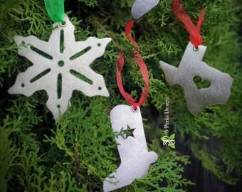 Leather Ornament, Christmas Ornament, Boot Ornaments, Snowflake Ornament, Texas Ornament, Rustic Christmas, Gold Ornaments, Silver Ornaments